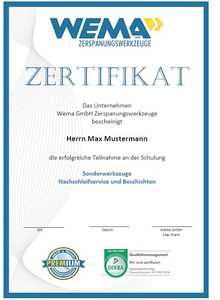 Zertifikat Zerspanungsseminar - WEMA Zerspanungswerkzeuge GmbH
